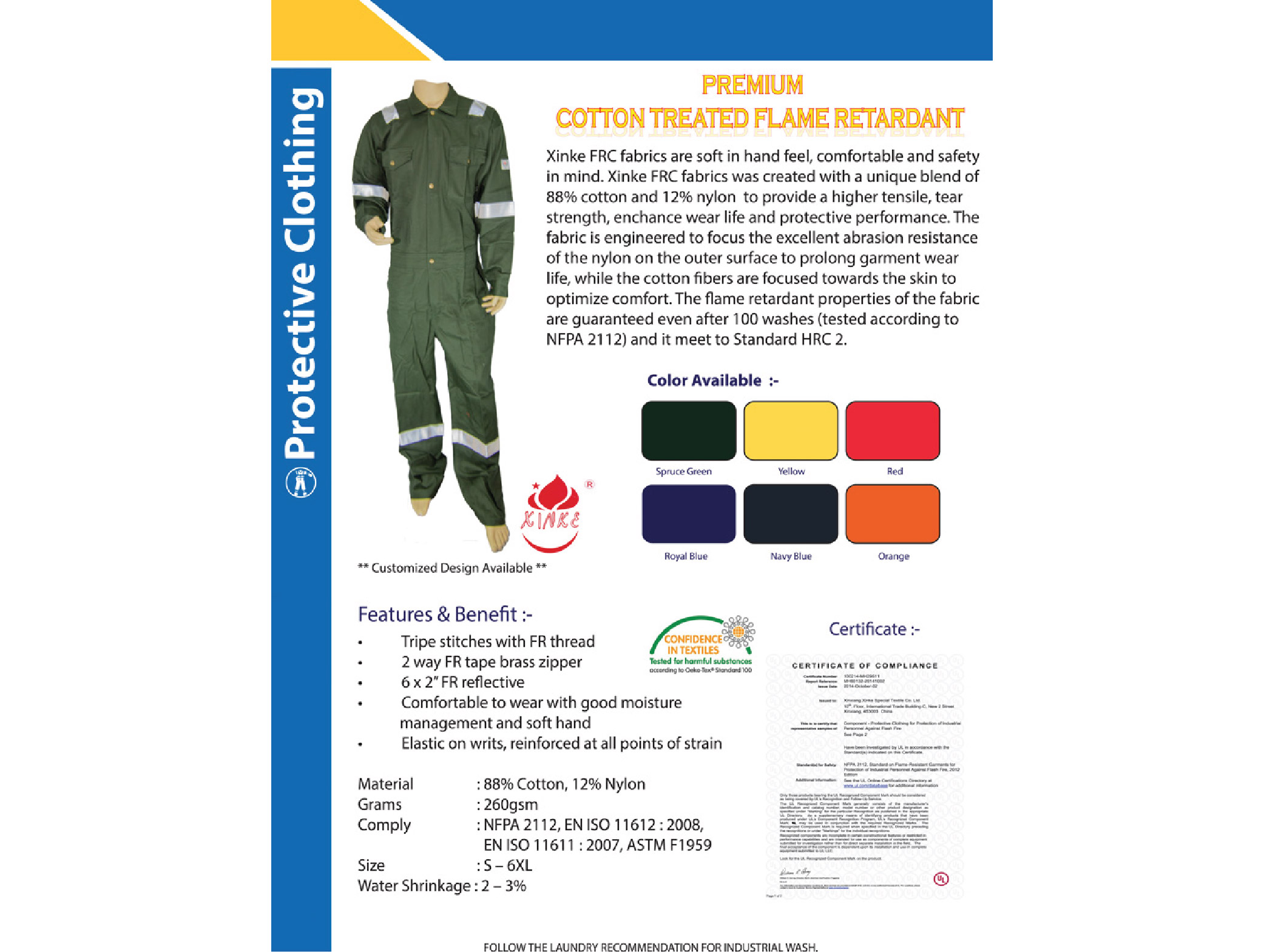 XinKe Flame Retardant Coverall