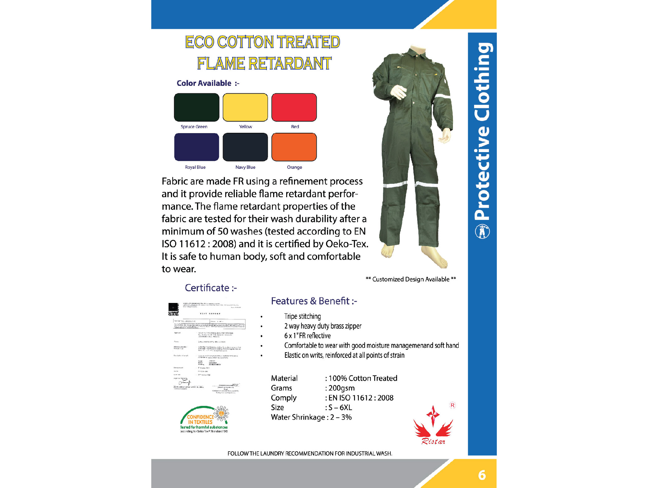 XinXing Eco Flame Retardant Coverall