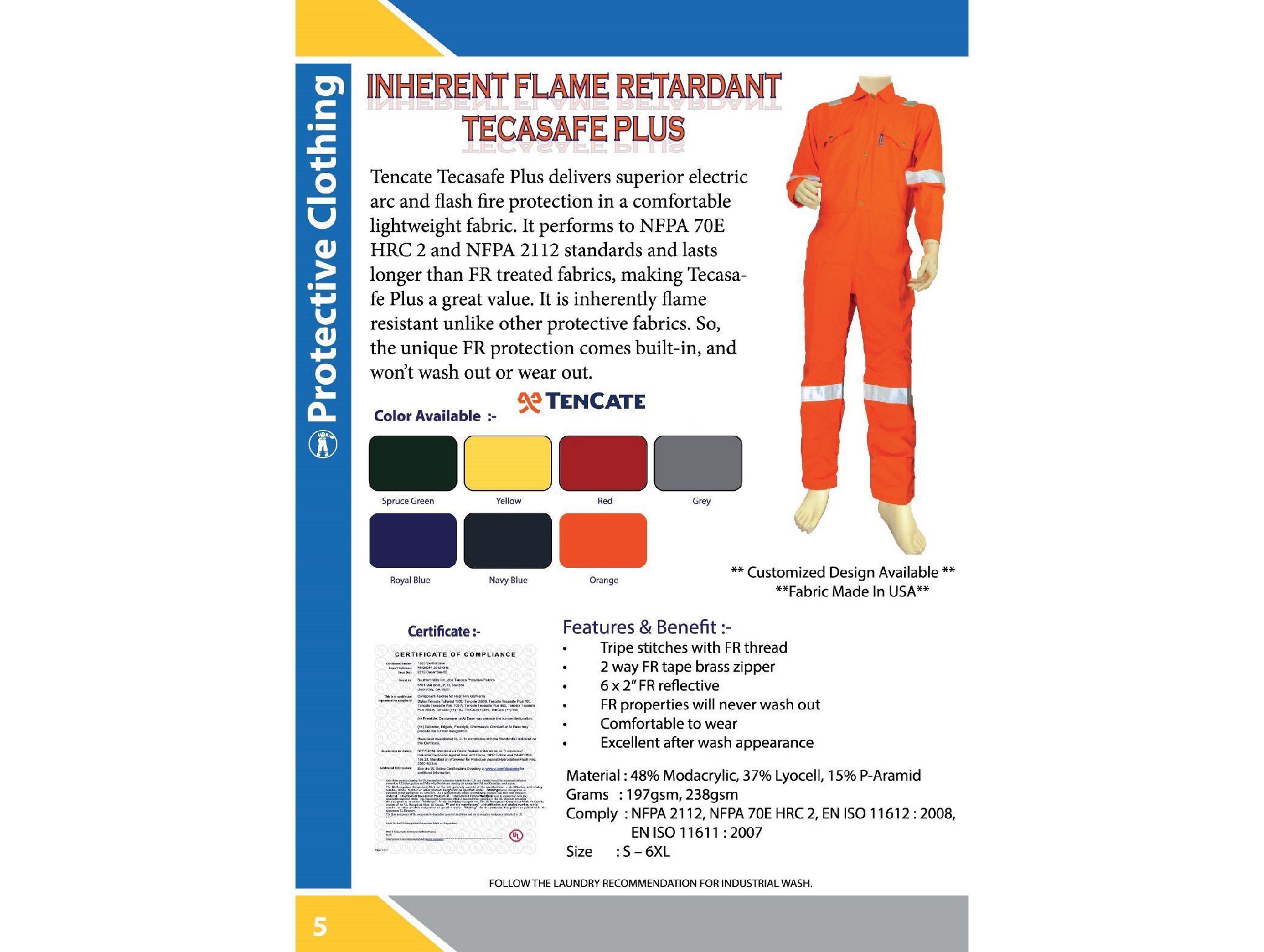 Tecasafe Plus Flame Retardant Coverall