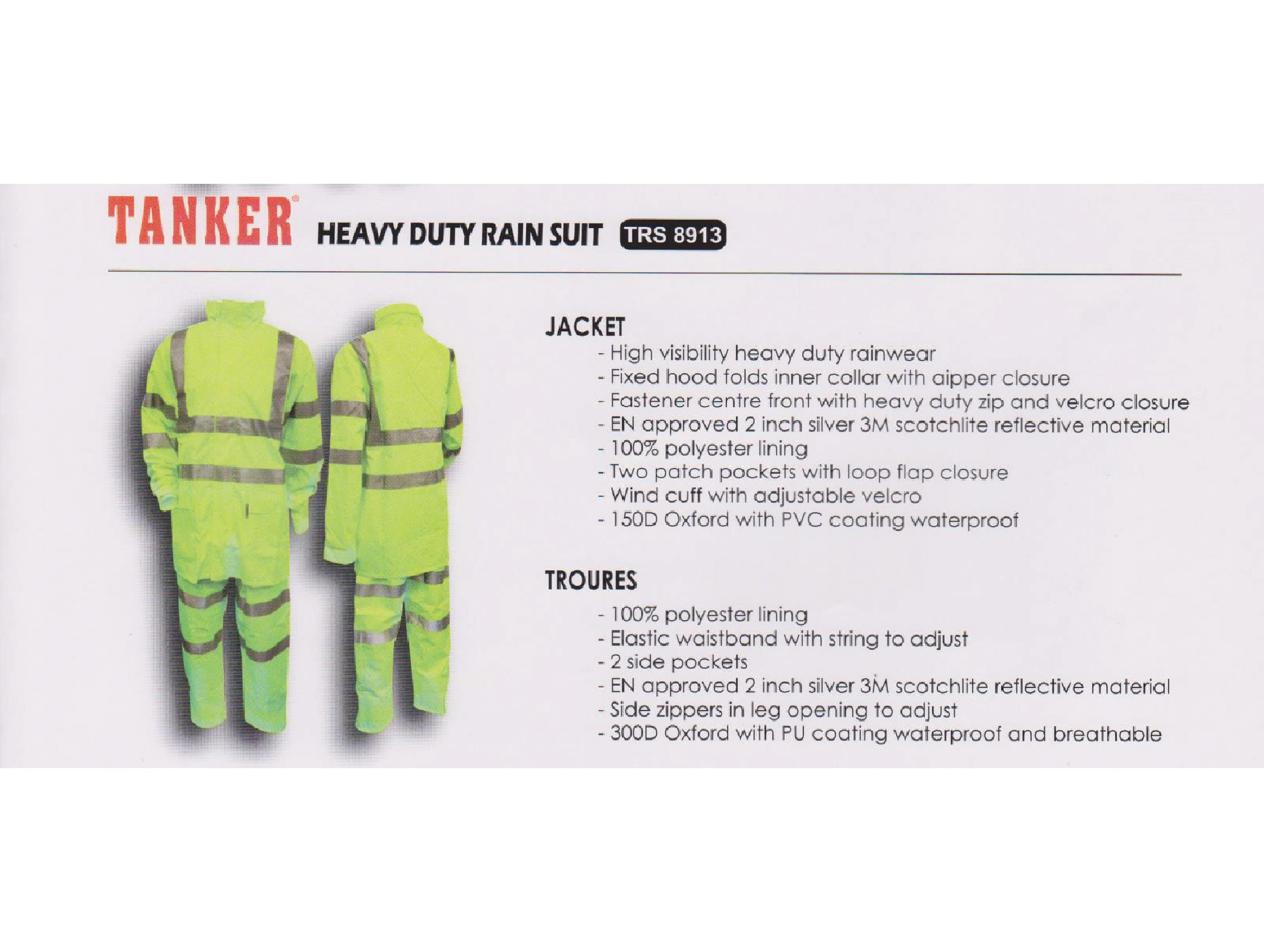 Tanker Heavy Duty Rain Suit - TRS 8913