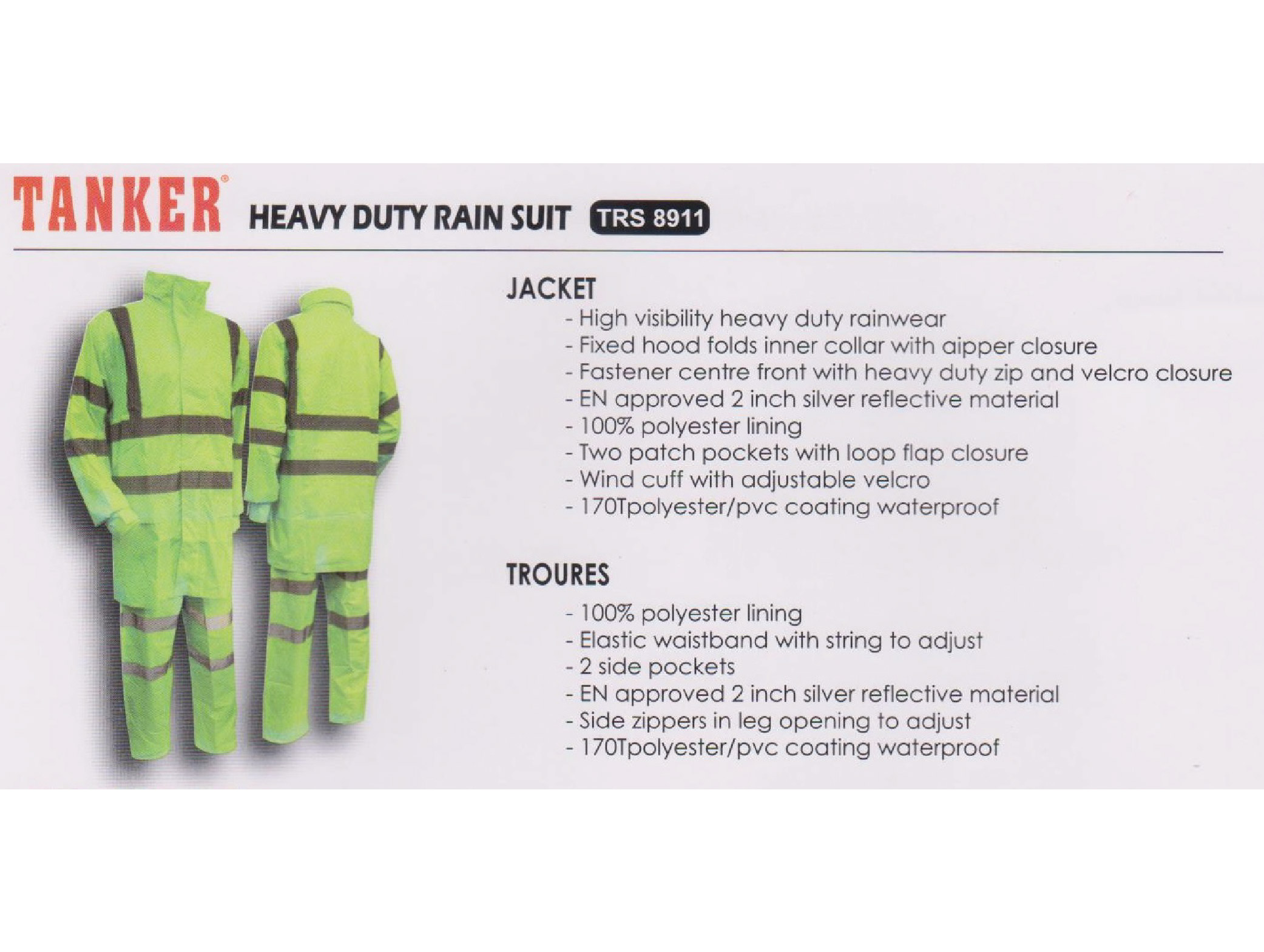 Tanker Heavy Duty Rain Suit - TRS 8911