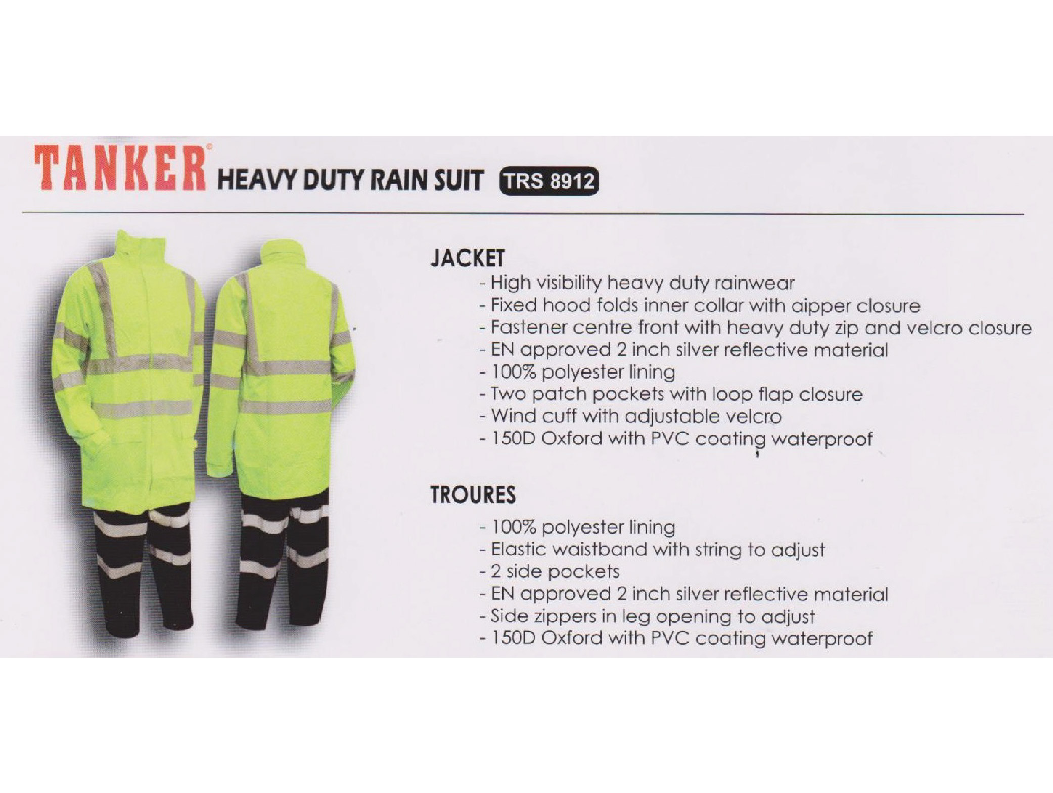 Tanker Heavy Duty Rain Suit - TRS 8912